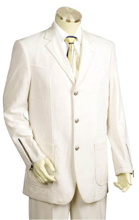 SKU#TR5441 3 Button Iced Silver Mens Suit $275