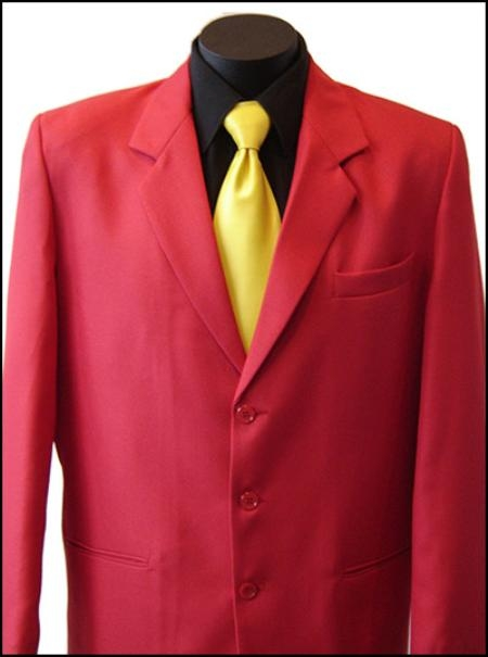 SKU#MUZD733TA Excluive 3 Button Mens Dress Blazer or Suit with Metal Buttons in Red Colors