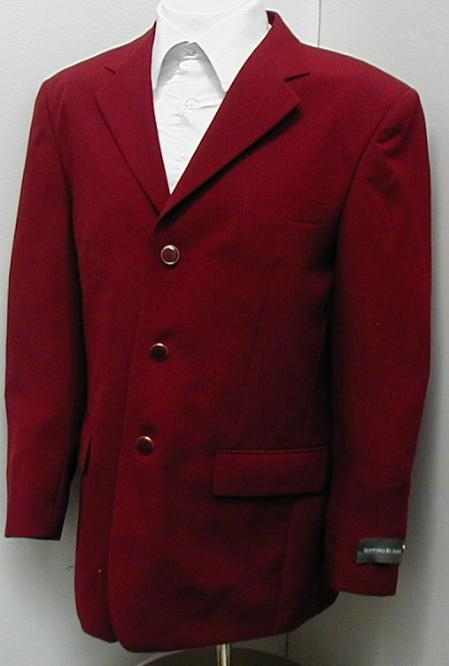 SKU#ZD4 3 Button Mens Dress Blazer with Metal Buttons in Burgundy $79