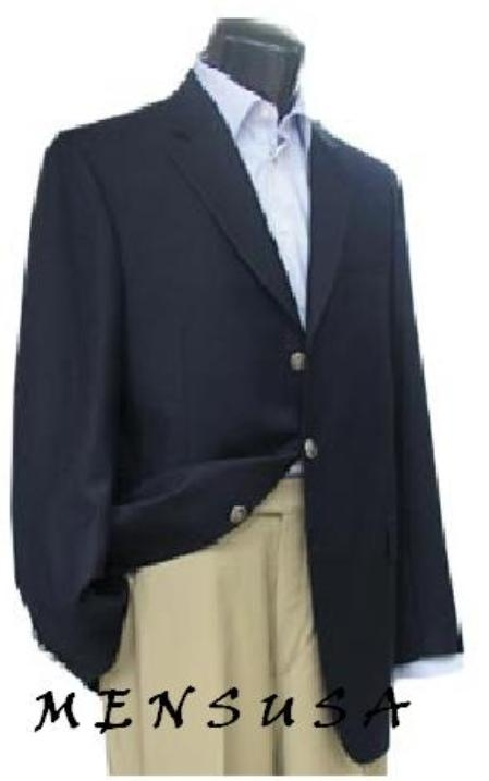 SKU# SDA656 3 Button Navy Blue patterned 100% Wool Blazer with Metal Buttons $159