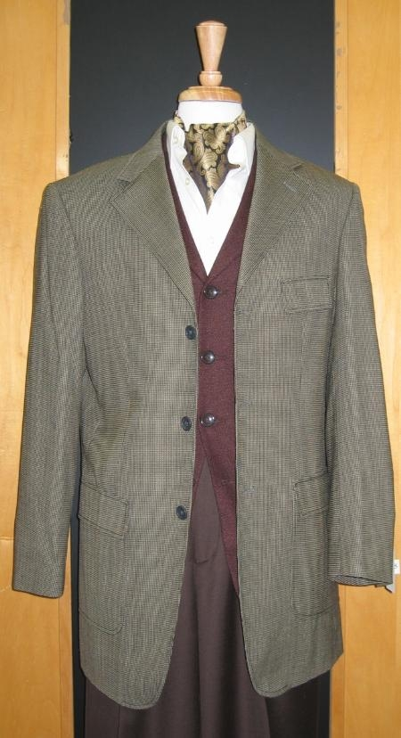 SKU#NJ876 3 Button Olive Brown Gold Wool And Cashmere Custom Sport Jacket $199