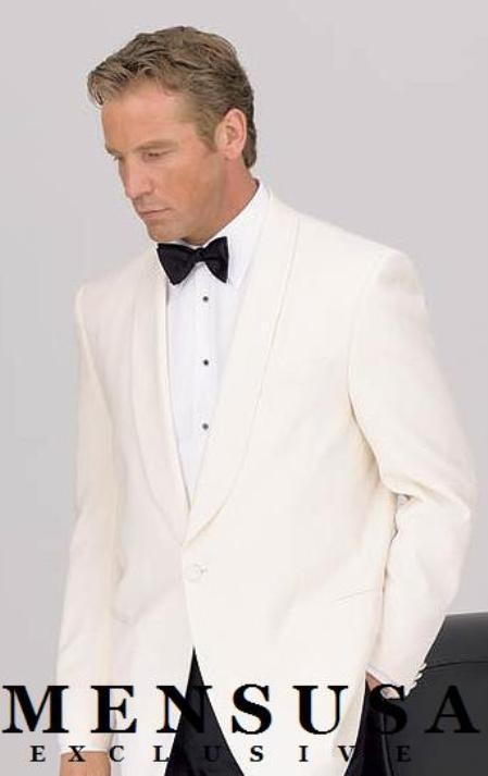 SKU# 8467C 1 Button Shawl Lapel Dinner Jackets - Ivory (Cream ~ Ivory ~ Off White)100% Tropical Wool