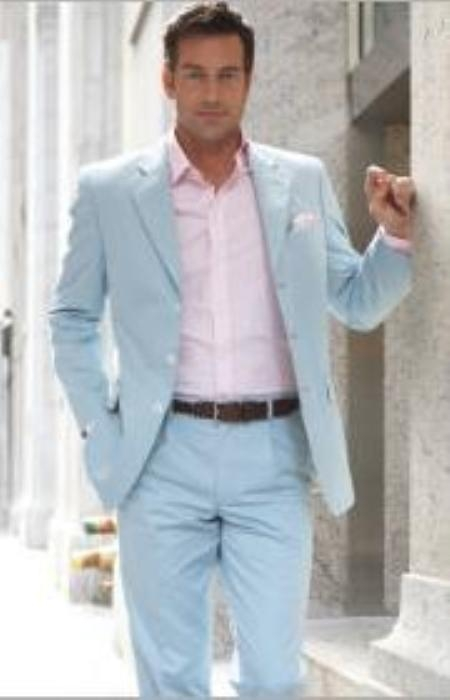 SKU#PG14 3 Button Style Light Blue ~ Sky Blue (Powder blue) Suit $159
