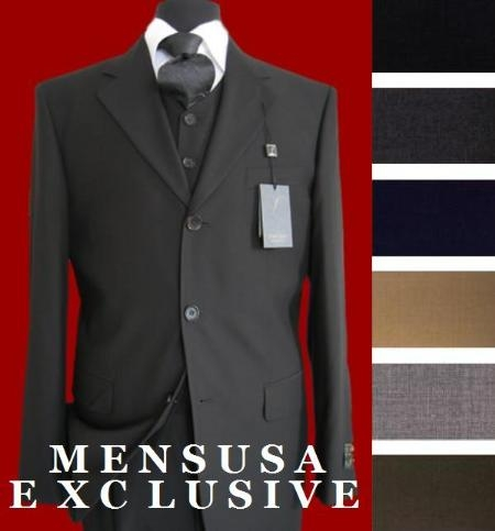 SKU#ZTL2 3 Button Suit Vested 3 Piece Super 150s Wool Suit in Available in Many Colors