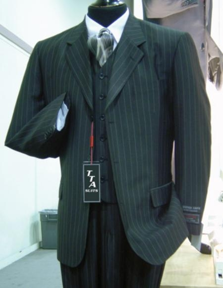SKU#ACT_T63TRS 3 Button Wide Pinstripe In Charcoal Grey Vest Included $159
