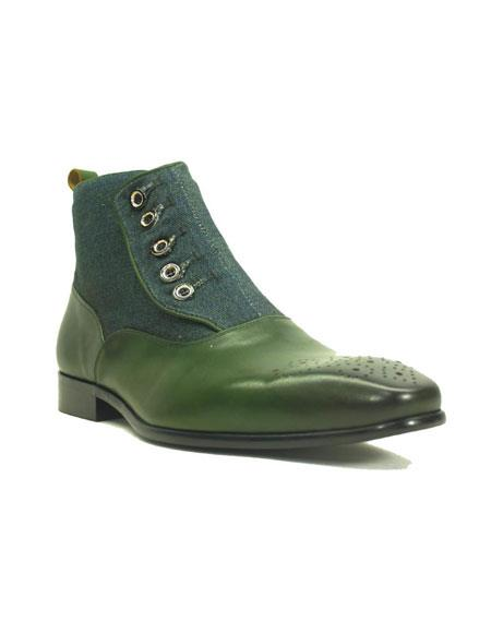 Mens Green Dress Shoes Mens Carrucci Fashionable Emerald Button-up Zip Denim Cheap Priced Men's Dress Boot With jeans or Suit Best Fashion Dressy Leather Boot!