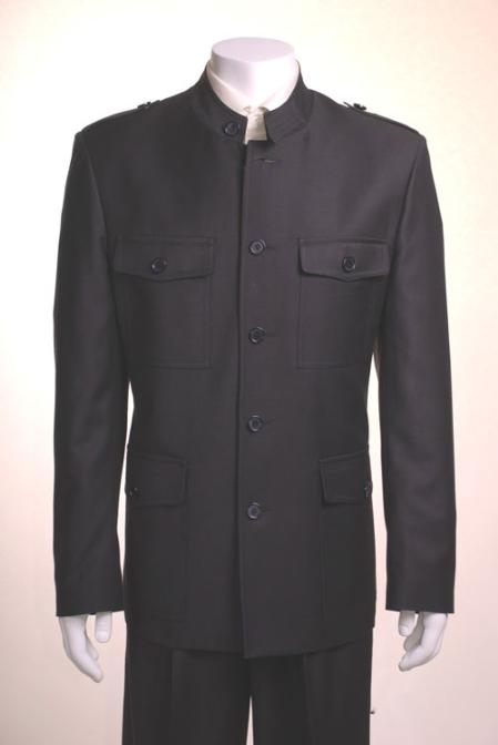 5 Button Banded Collar Monaco Style Suit in Black / White / OFF White / Tan $175