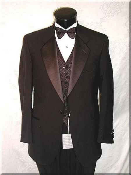 SKU#ZTLK $995 1 Button Notch Super 120s Wool Feel Poly-Rayon Premiere Quality Italian Fabric + Tuxedo Shirt + Bow Tie
