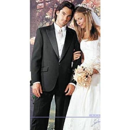 SKU#WQ9078 Button Peak Lapel Tuxedo by Fitted Slim Fitc Cut - 100% Worsted Wool $269