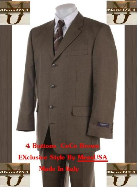 SKU# PQ32  Buttons CoCo Brown Super 120s Real Wool Feel Touch Mens Suit $139