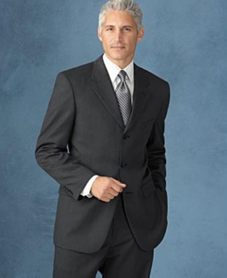 SKU# Z21 3 Buttons Dark Charcolal Gray 2 Side Vented SUPER 150 WOOL SUIT $195