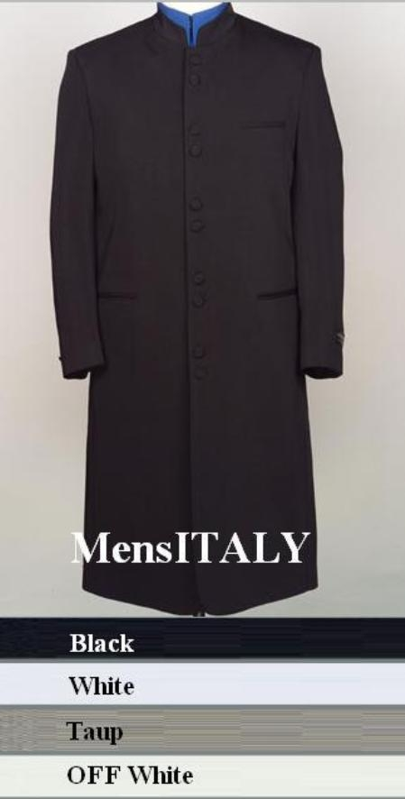 "SKU# HM45GA 10 Buttons Mandarin Collar 45"" Long Jacket ITS ONE OF A KIND Come in 4 Colors $189"