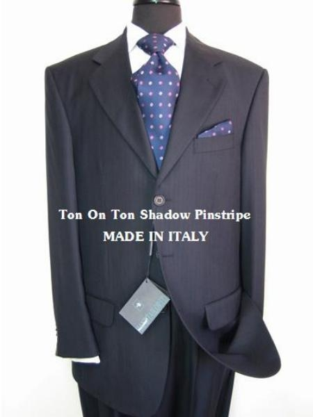 SKU# MU08 3 Buttons Navy Blue Ton on Ton (Shadow Pinstripe) Real premier quality italian fabric Super Fine Wool Suit $275