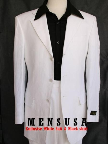 SKU# PVN191 3 Buttons Pure Light Weight Snow White Suits + Shirt & Tie Package $169