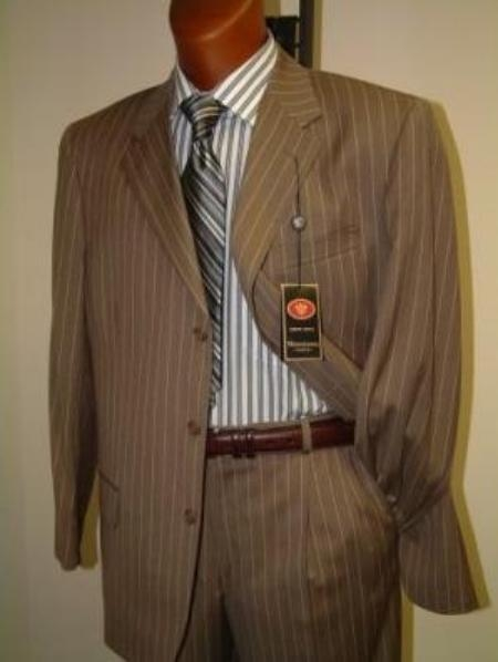 SKU# GHJ234 3 Buttons Single Breasted Gold~Camel~Bronz Pinstripe Suit $139