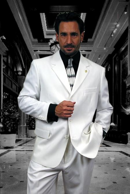 SKU#Gian323 3 buttons Solid WHITE EXTRA FINE 2PC Single breast SUIT $149