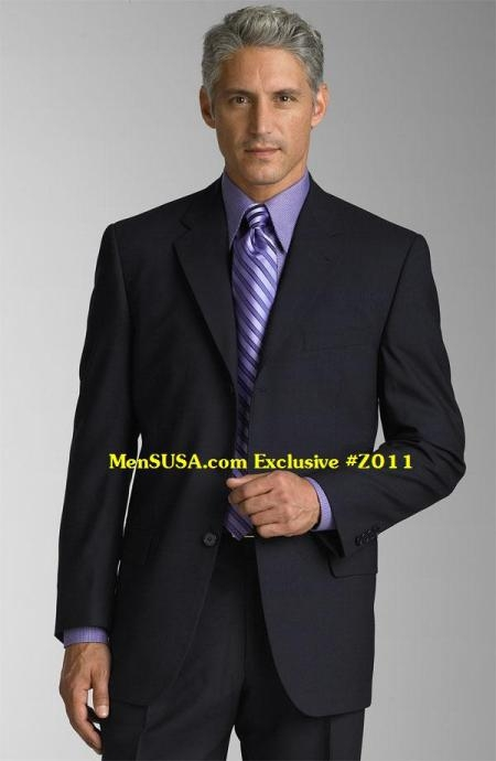 SKU# DSF342 3 Buttons #Z011 Navy BLue Super 140s Wool Mens Dress Suits $139