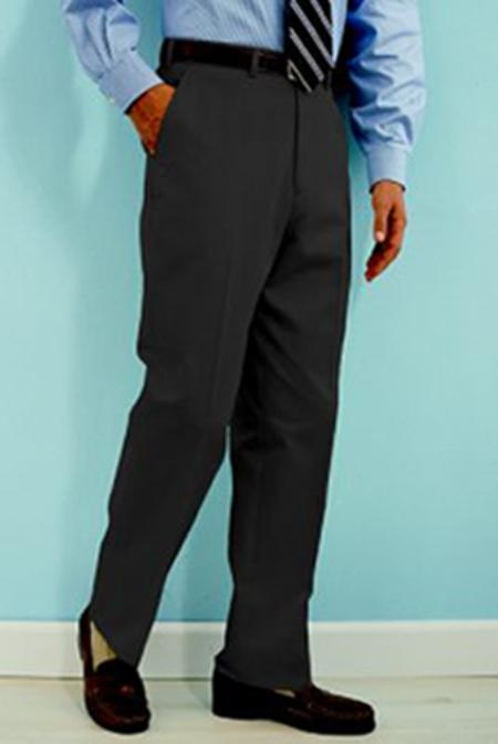 SKU#SJ311 PA-100 Charcoal premier quality italian fabric Flat Front Mens Wool Dress Pants Hand Made Relax Fit $69