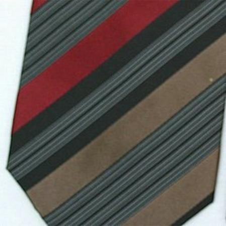 SKU#SW431C  Silk Brown/Burgundy/Black/White Woven Necktie $39