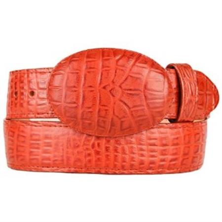 Caiman Belly (Imitation) Cognac Western Style Belt