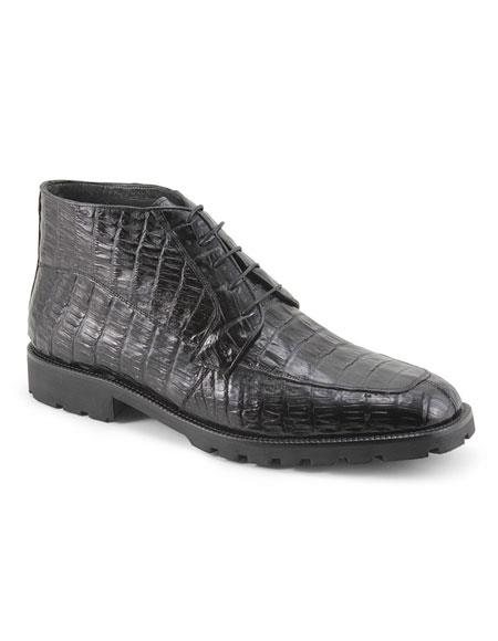 Mens Black Five Eyelet Lacing Ankle Boot