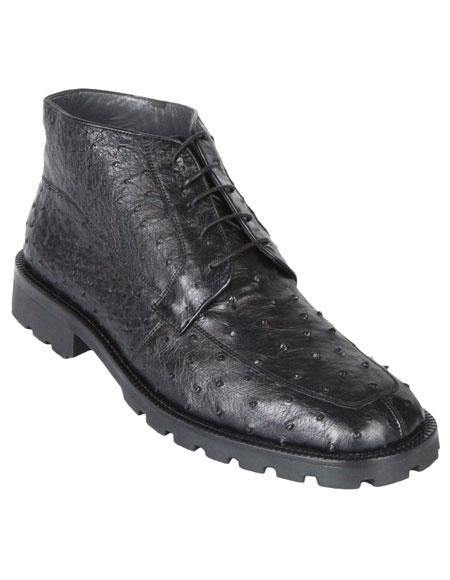Los Altos Mens Stylish Black Genuine Caiman Crocodile Hornback Ankle Dress Boot