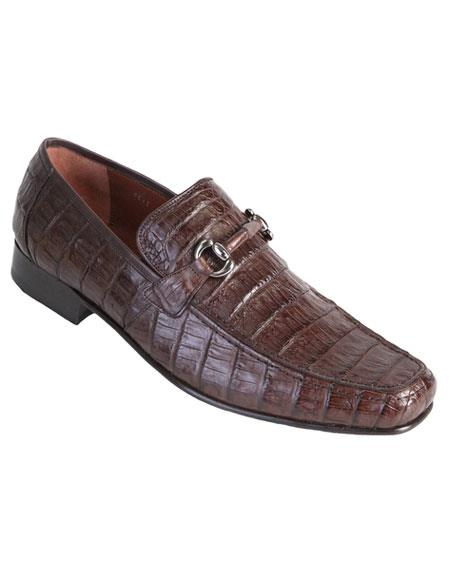 Brown Dress Shoe Los Altos Boots Mens Stylish Brown Genuine Caiman Crocodile Belly Slip-On Casual Dress Shoes