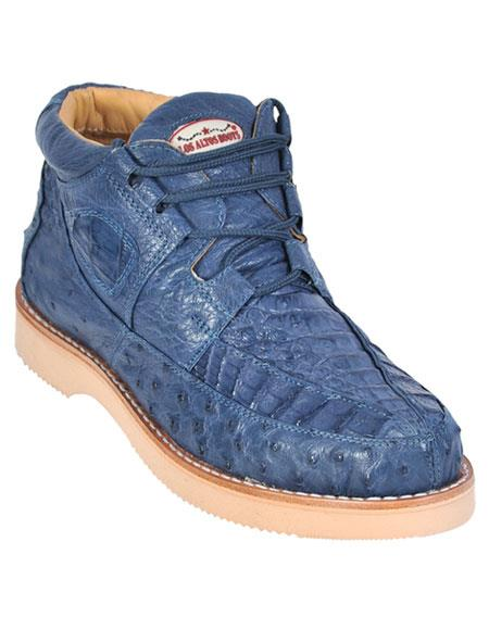 Los Altos Mens Stylish Blue Jean Genuine Caiman & Ostrich Skin Casual Sneakers