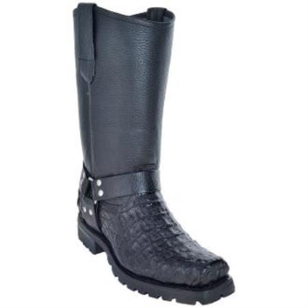 Mens Caiman Biker Boots With Industrial Sole Black-