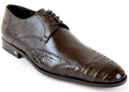 Brown Dress Shoe Mens Caiman (Gator) Belly Skin Brown Dress Shoe