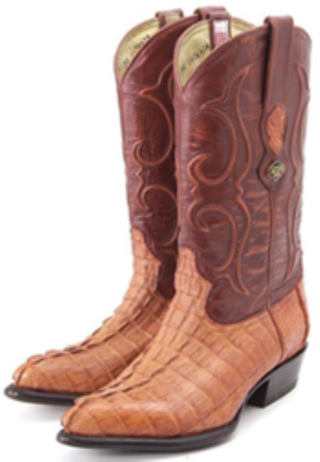 Buy KA2208 caiman ~ alligator Tail Cognac Vintage Los Altos Men's Cowboy Boots Western Riding