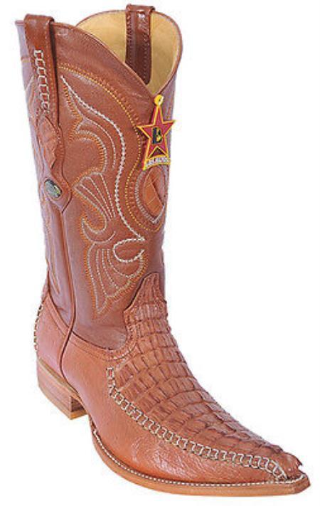 KA2289 caiman ~ alligator Tail Cognac Brown Vintage Los Altos Men's Cowboy Boots Western Riding