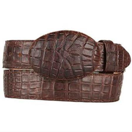 Mens Caiman Belly (Imitation) Western Style Printed Pattern Belt Brown