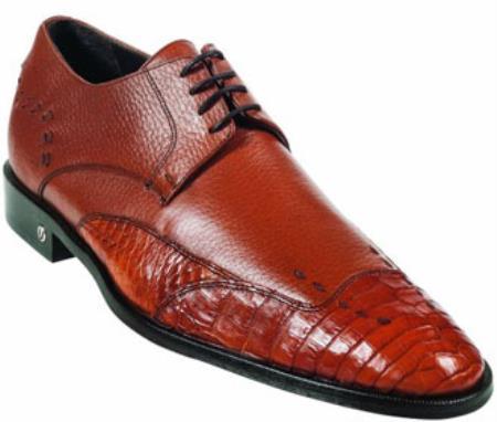Mens Caiman (Gator) Belly Skin Cognac Dress Shoe