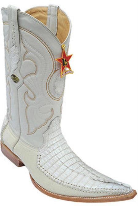 Buy KA2203 caiman ~ World Best Alligator ~ Gator Skin Tail Vintage Riding Cream ~ Ivory ~ White Los Altos Men's Western Boots Cowboy