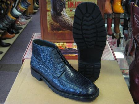 Genuine All Crocodile Caiman Navy Blue Men Ankle Boot Ankle Dress Style For Man