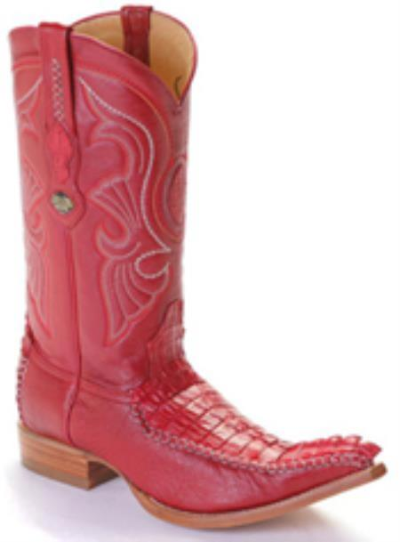 Buy KA8879 caiman ~ World Best Alligator ~ Gator Skin Tail Vintage Riding Red Los Altos Men's Western Boots Cowboy Classics