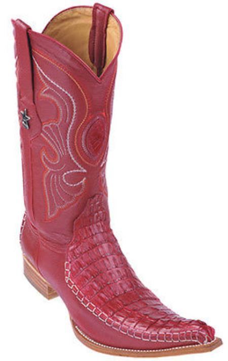 Buy KA8975 caiman ~ World Best Alligator ~ Gator Skin Tail Vintage Riding Red Los Altos Men's Western Boots Cowboy Classics
