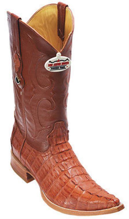 Buy KA5583 caiman ~ alligator Tail Cognac Vintage Los Altos Men's Cowboy Boots Western Riding