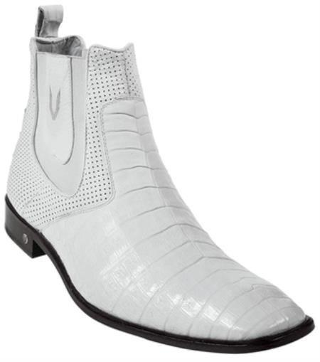 Gator Skin Belly White Dress Boot Ankle Dress Style For Man ~ Mens Genuine caiman ~ World Best Alligator