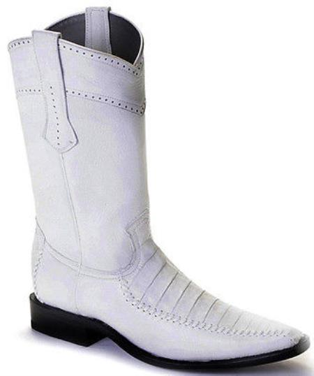 b20a52cb11 caiman ~ World Best Alligator ~ Gator Skin Belly Vintage White Los Altos  Mens Cowboy Boots
