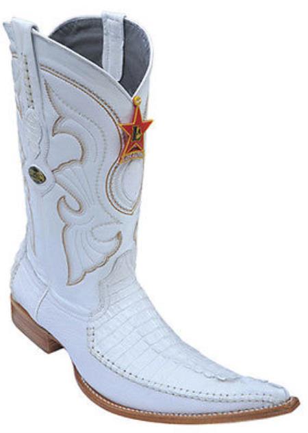 ea1685c5147 caiman ~ World Best Alligator ~ Gator Skin Tail Vintage Riding White Los  Altos Men's Western Boots Cowboy Classics