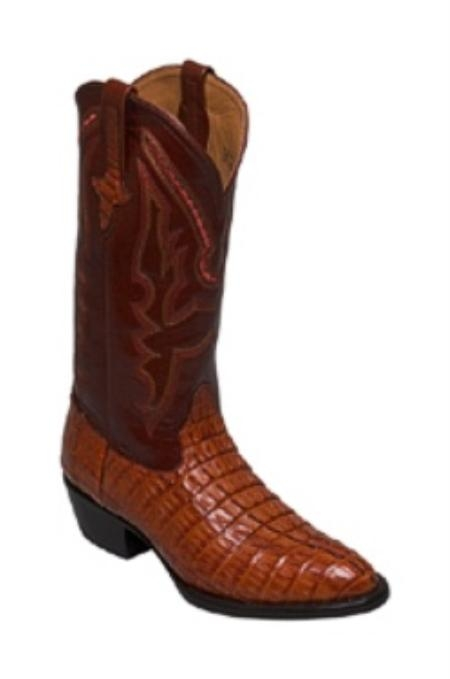 SKU#SU723 caiman ~ alligator Tail in Copper~Rust~Cognac Medium Round Toe