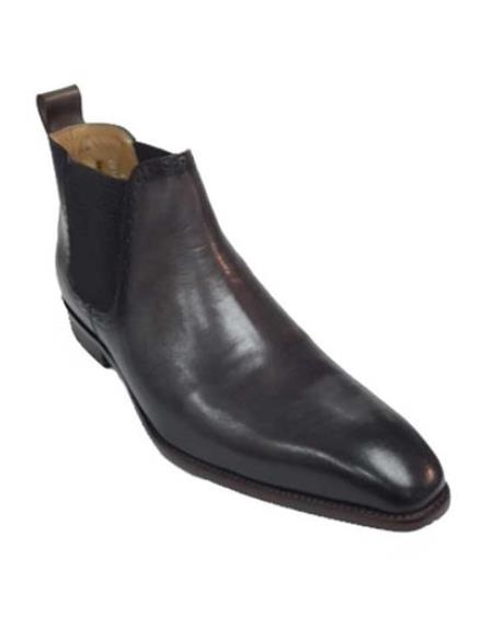 Men's Carrucci Burnished Calfskin Charcoal Slip On Cheap Priced Men's Dress Boot With jeans or Suit Best Fashion Dressy Leather Boot!
