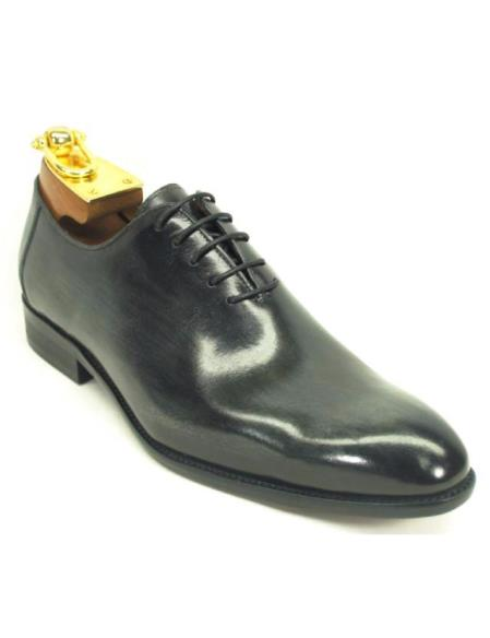 Carrucci Black Men's Genuine Calfskin Leather Lace Up Oxford Black Dress Shoe