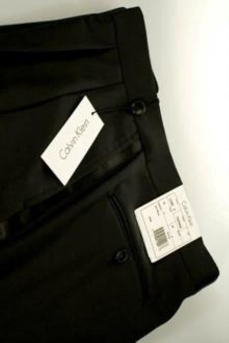 Jaber Calvin Klein Black Tuxedo Pants unhemmed unfinished bottom
