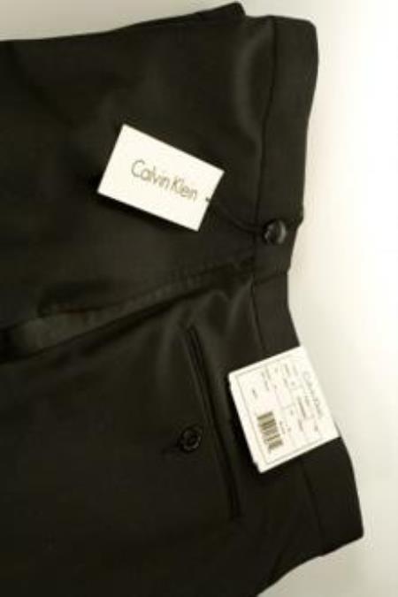 Jensen Calvin Klein Black Tuxedo Pants  unhemmed unfinished bottom