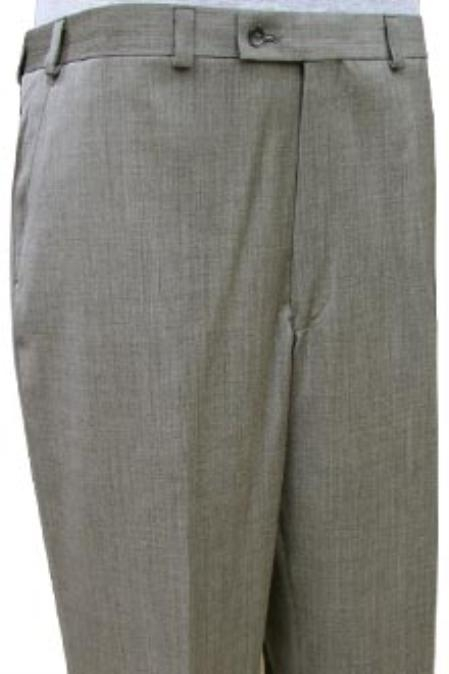 SKU#UAS622 Cotton Summer Light Weight Black and Sand Mini Herringbone CK Flat Front Pant $99
