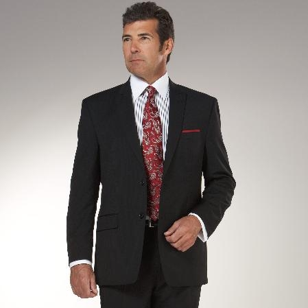 SKU#GA426 Authentic Mantoni Brand Black Solid Suit