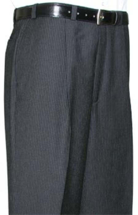 SKU#KLA312 Cotton Summer Light Weight Black Pinstripe CK Single Pleat Pant